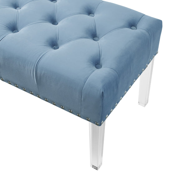 Valley Button tufted Velvet Upholstered Bench With Acrylic Leg