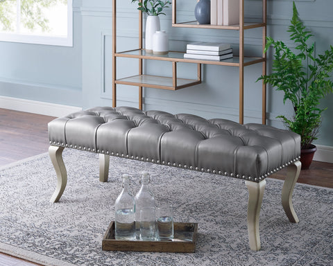 Decor Maxem Tufted Faux Leather Upholstered Seat with Nailhead Trim Bench