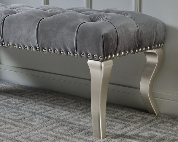 Decor Maxem Tufted Fabric Upholstered Seat with Nailhead Trim Bench, Gray