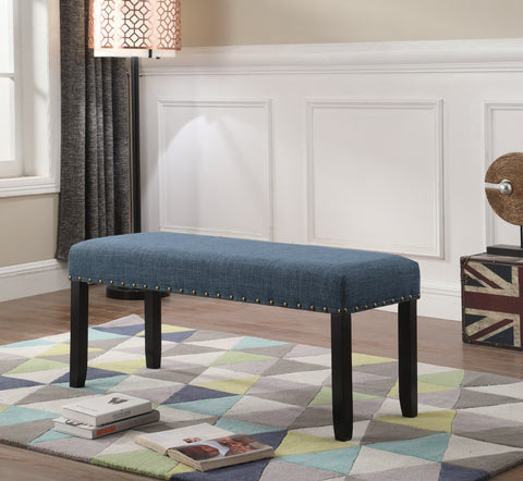 Biony Blue Fabric Dining Bench with Nailhead Trim