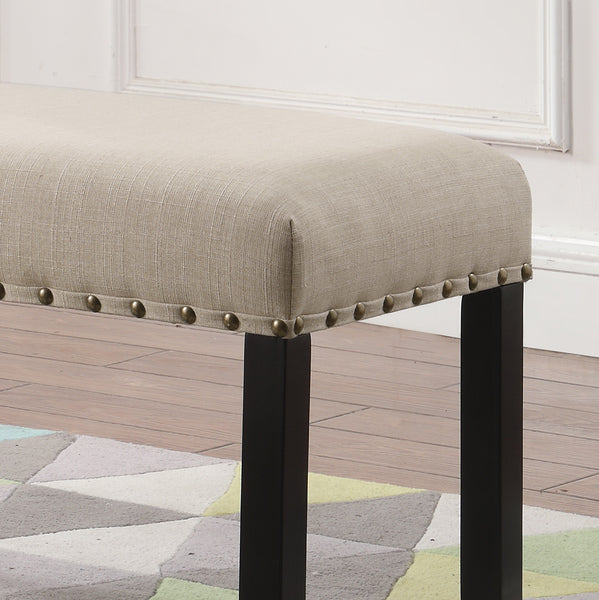 Biony Tan Fabric Dining Bench with Nailhead Trim