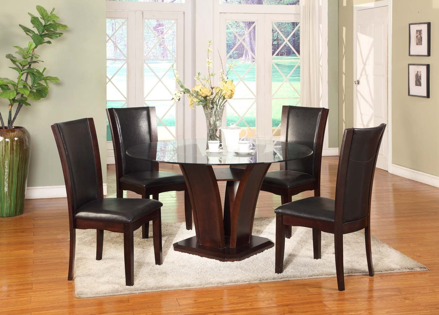 5PC Dark Cappoccino Finish Glass Top Dining Set