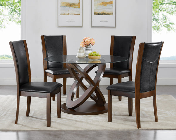 Cicicol Espresso 5PC Glass Top Dining Table with Chairs
