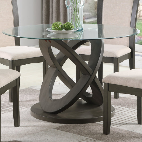 Cicicol 5 Piece Glass Top Dining Table with Chairs, Gray