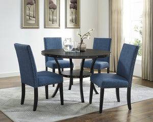 Biony Espresso Wood Dining Set with Blue Fabric Nailhead Chairs