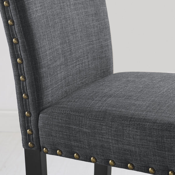 Biony Espresso Wood Dining Set with Gray Fabric Nailhead Chairs