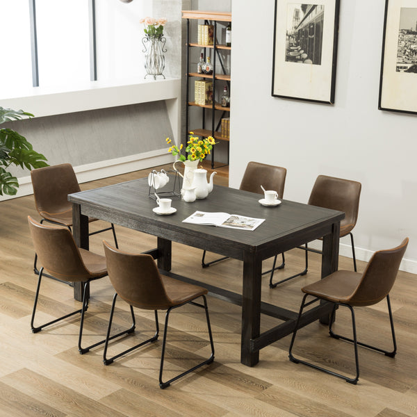 Lotusville 7-Piece Antique Black Finish Wood Dining Table with 6 Brown Faux Leather Chairs Set