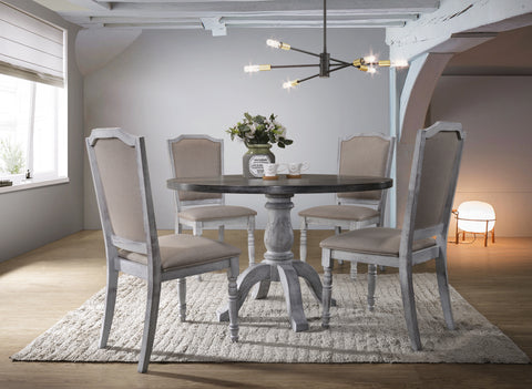 Iris Weathered White Wood 5-Piece Dining Set