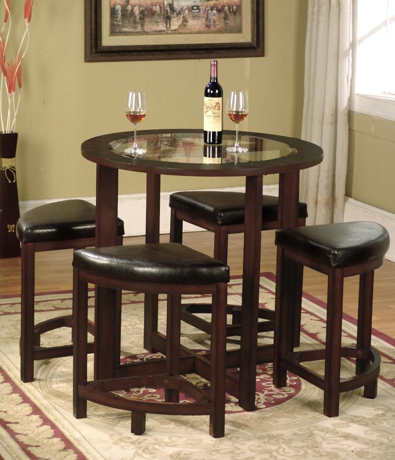 Solid Wood Glass Top Dining Table w/ 4 Chairs
