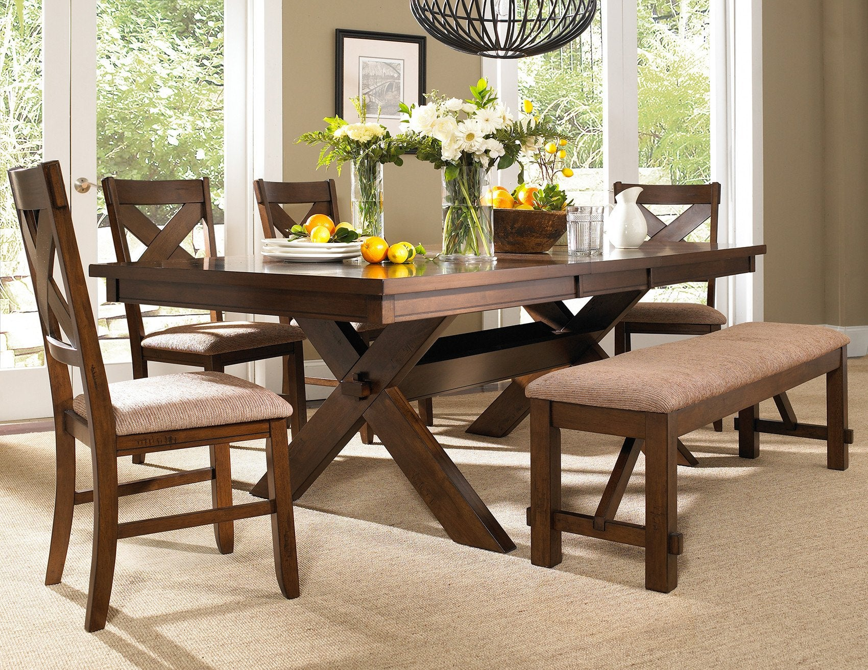 6-Piece Karven Solid Wood Dining Set with Table  4 Chairs and Bench