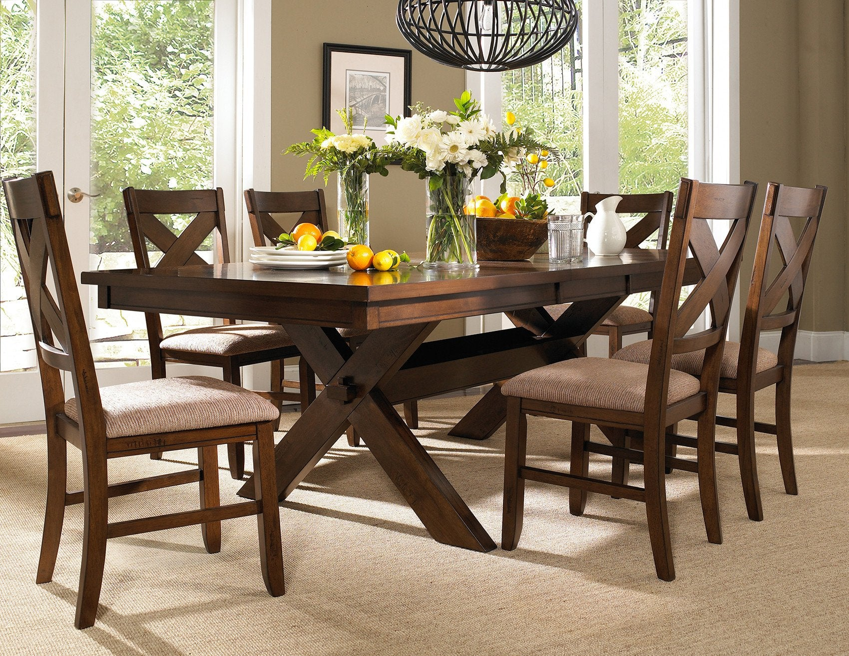 Picture of: 7 Piece Karven Solid Wood Dining Set With Table And 6 Chairs Roundhill Furniture