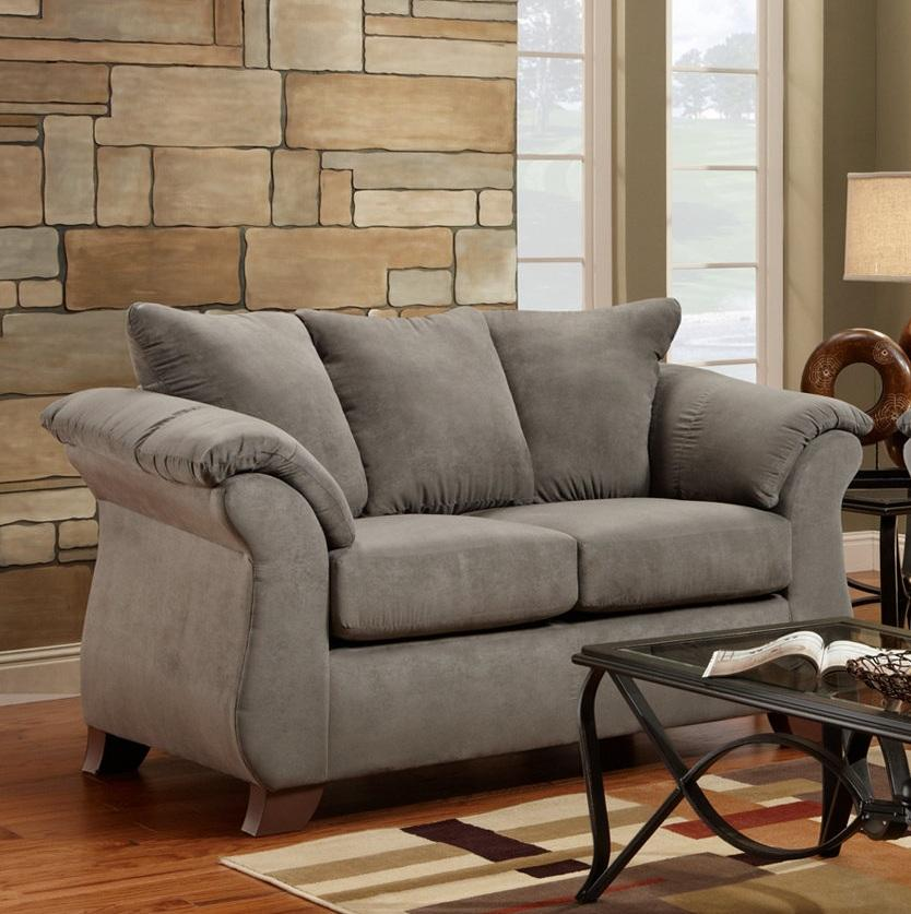 Aruca Sensations Grey Microfiber Pillow Back Loveseat