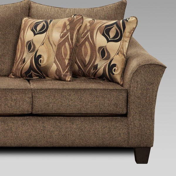Camero Cafe Fabric Pillowback Sofa and Loveseat Set