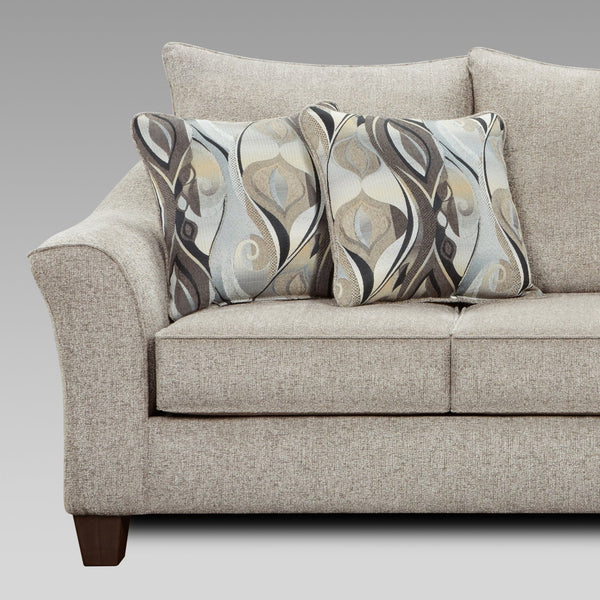 Camero Platinum Fabric Pillowback Sofa and Loveseat Set
