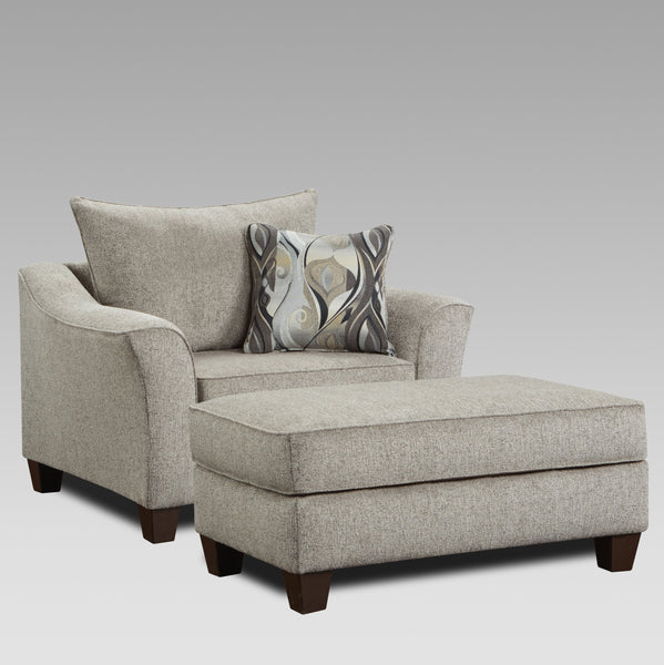 Camero Platinum Fabric Accent Chair and Ottoman Set