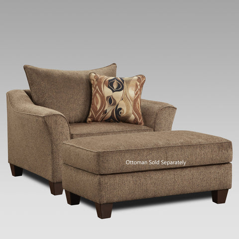 Camero Cafe Fabric Pillowback Accent Chair