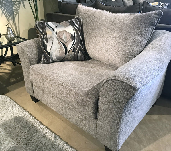 Camero Platinum Fabric Pillowback Accent Chair