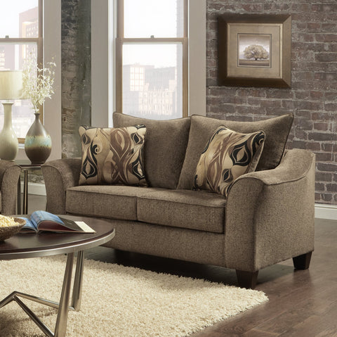 Camero Cafe Fabric Pillowback Loveseat