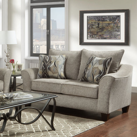 Camero Platinum Fabric Pillowback Loveseat
