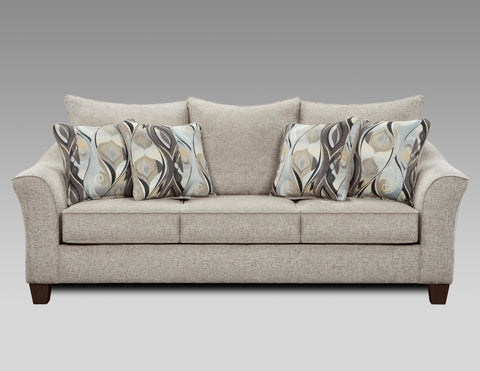 Camero Platinum Fabric Pillowback Sofa
