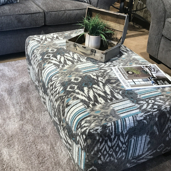 Medley Nickel Microfiber Cocktail Ottoman