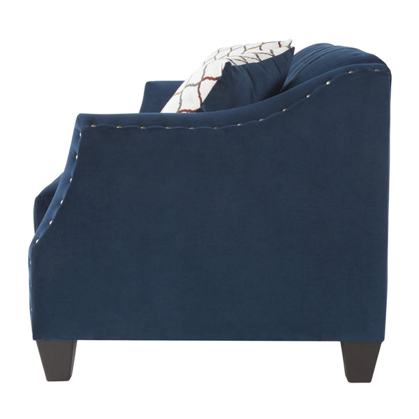 Moselle Transitional Modern Velvet Tufted Loveseat with Nainhead Trim, Blue