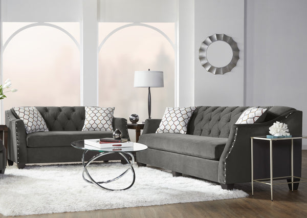 Moselle Transitional Modern Velvet Tufted Loveseat with Nainhead Trim, Gray