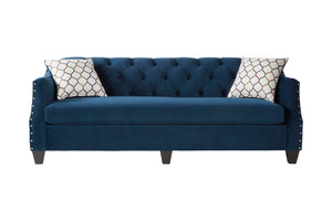 Moselle Transitional Modern Velvet Tufted Sofa with Nainhead Trim, Blue