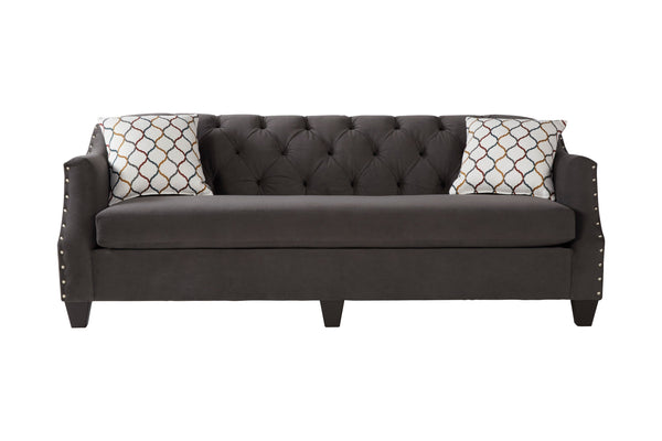Moselle Transitional Modern Velvet Tufted Sofa with Nainhead Trim, Gray