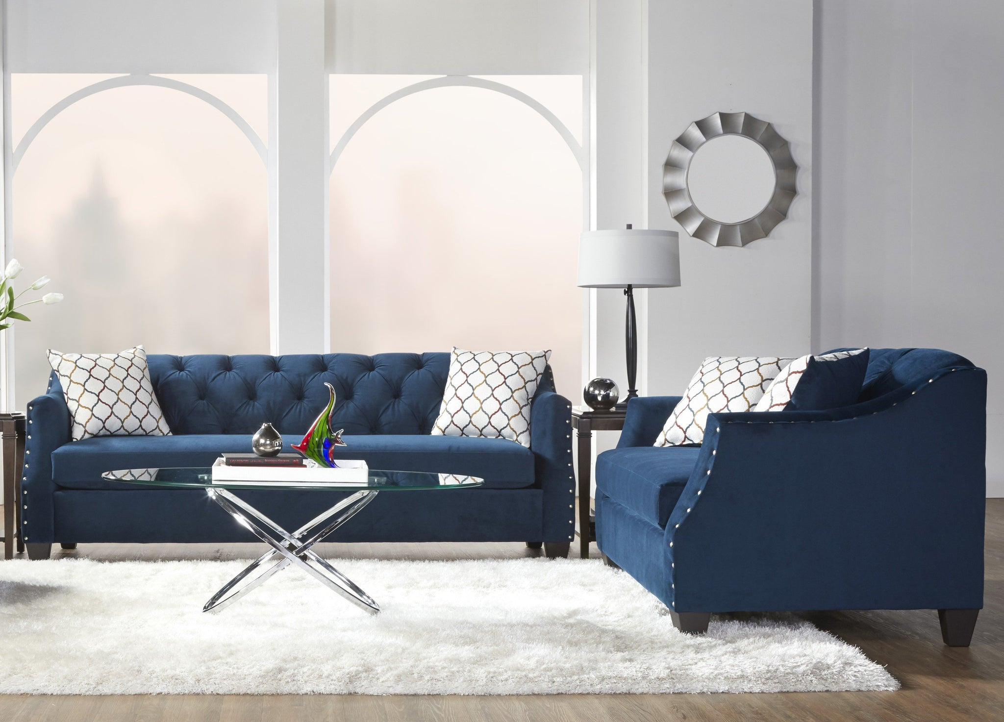 Moselle Transitional Modern Velvet Tufted Nainhead Trim Sofa and Loveseat Set, Blue