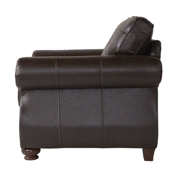 Leinster Faux Leather Upholstered Nailhead Chair in Espresso