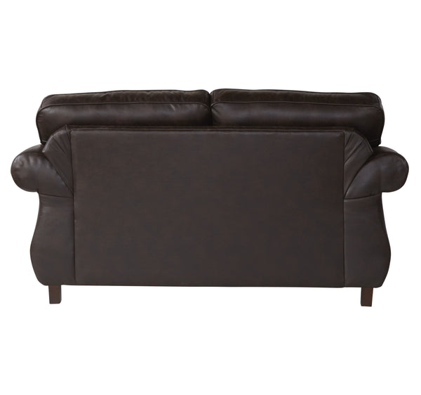 Leinster Faux Leather Upholstered Nailhead Loveseat in Espresso