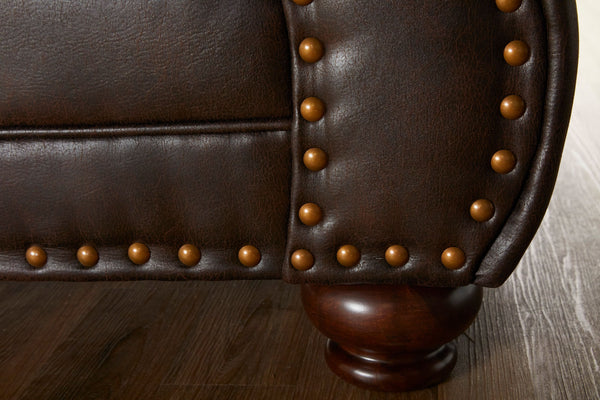 Leinster Faux Leather Upholstered Nailhead Sofa, Loveseat, and Chair Set in Espresso