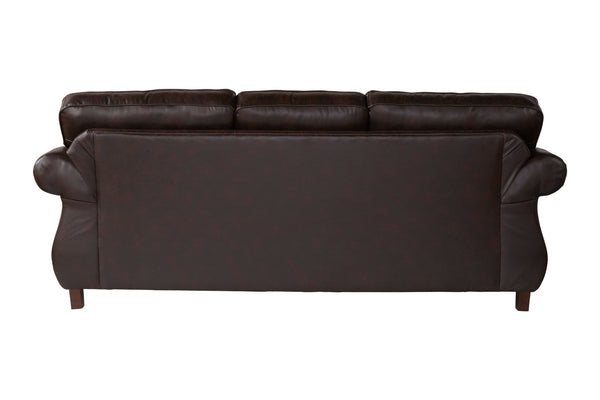 Leinster Faux Leather Upholstered Nailhead Sofa and Loveseat Set in Espresso