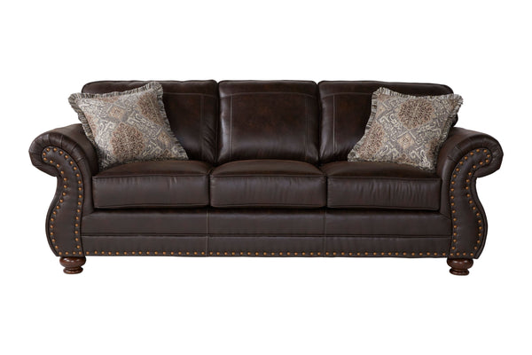 Leinster Faux Leather Upholstered Nailhead Sofa in Espresso