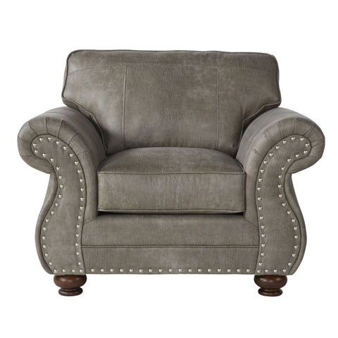 Leinster Faux Leather Upholstered Nailhead Chair in Stone Gray
