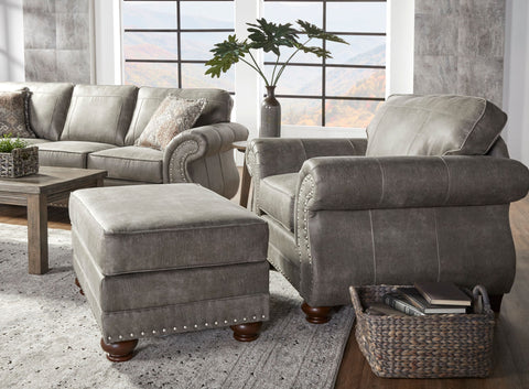 Leinster Faux Leather Upholstered Nailhead Chair and Ottoman in Stone Gray