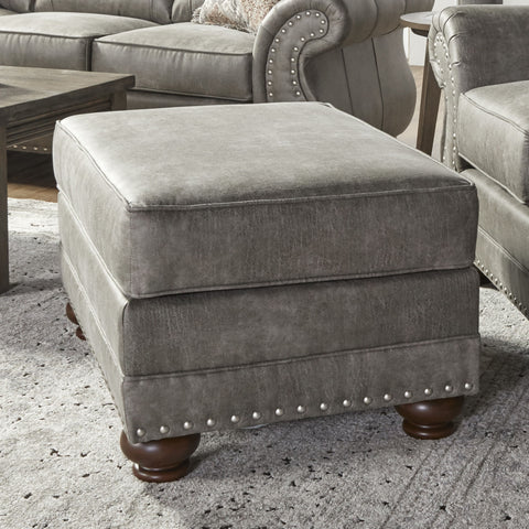 Leinster Faux Leather Upholstered Nailhead Ottoman in Stone Gray