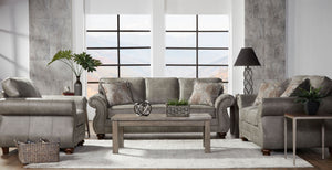 Leinster Faux Leather Upholstered Nailhead Sofa, Loveseat, and Chair Set in Stone Gray
