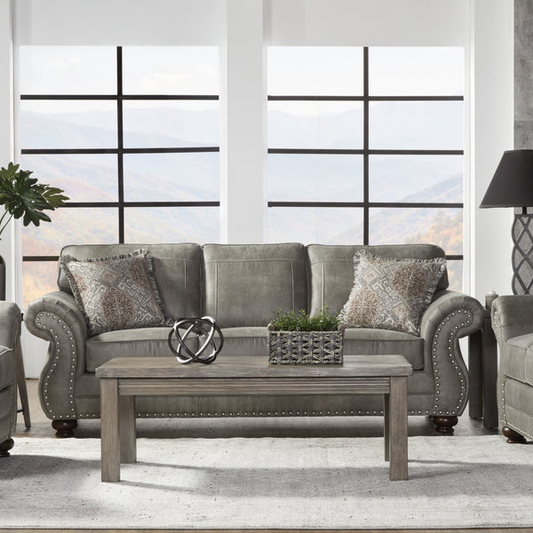 Leinster Faux Leather Upholstered Nailhead Sofa in Stone Gray