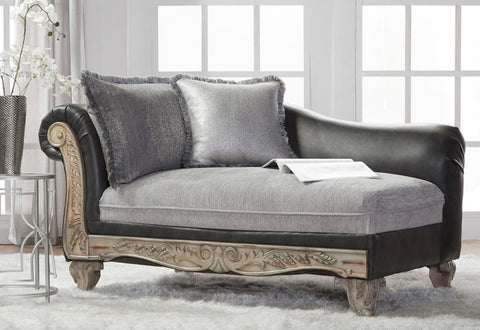 San Marino 2-Tone Fabric Wooden Frame Chaise, Gray