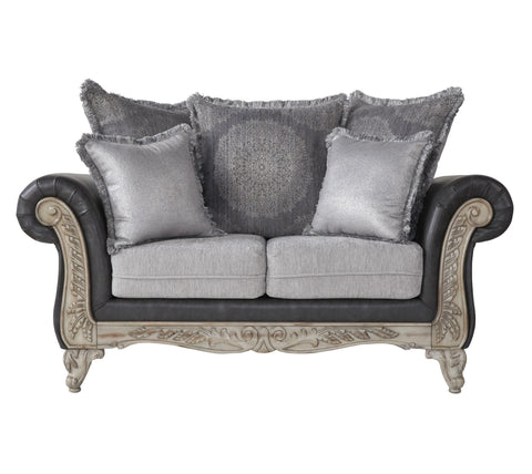 San Marino 2-Tone Fabric Wooden Frame Loveseat, Gray