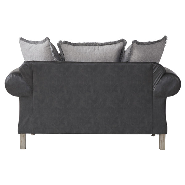 San Marino 2-Tone Fabric Wooden Frame Sofa and Loveseat Set, Gray