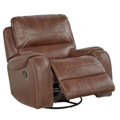 Achern Brown Leather Nailhead Swivel Glider Recliner
