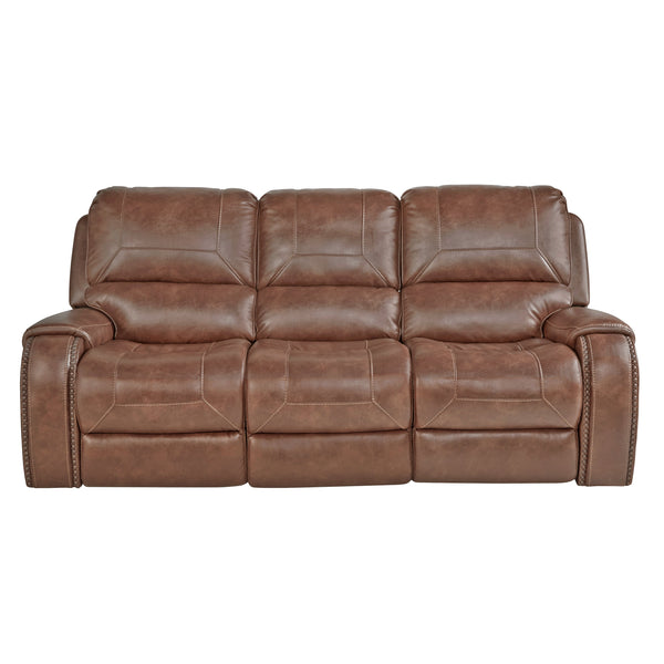 Achern Brown Leather Nailhead Air Reclining Sofa and Loveseat with Storage Console