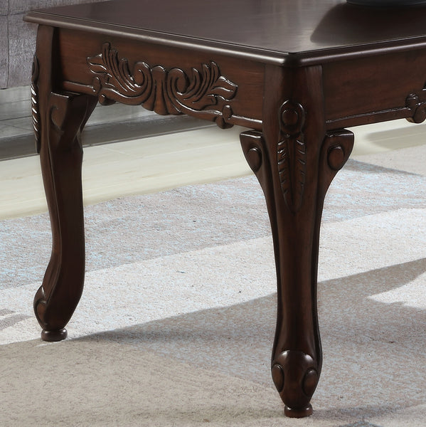 Traditional Ornate Detailing Dark Cherry Finish Wood Coffee Table