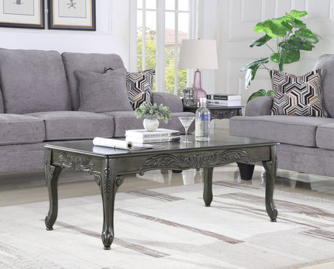 Traditional Ornate Detailing Grey Finish Wood Coffee Table