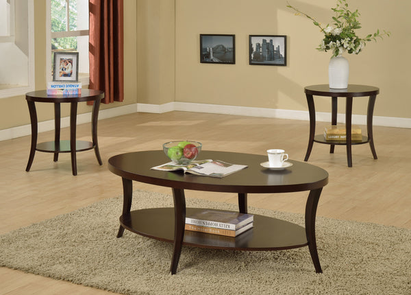 Perth Espresso Oval Coffee Table with Shelf