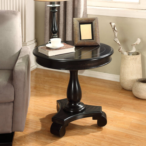 Rene Black Round Wood Pedestal Side Table