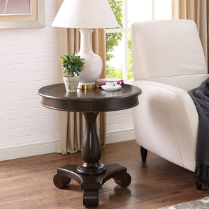 Rene Espresso Round Wood Pedestal Side Table
